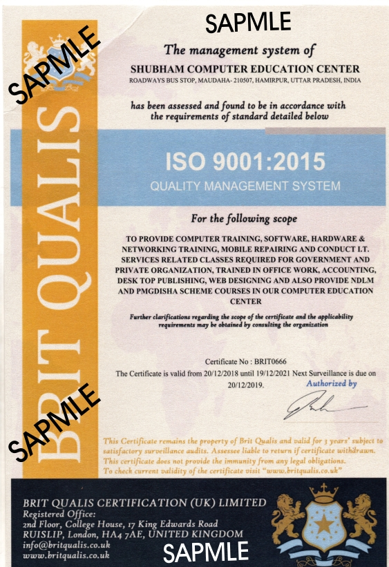 ISO 9001 : 2015 Certificate (Certificate No - BRIT0666) From Unitet Kingdom